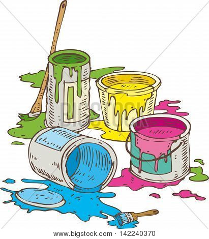 Tin Cans of Yellow Blue Pink and Green Paint and Paintbrush Isolated on a White