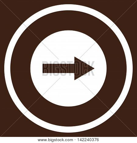 Right Rounded Arrow vector icon. Style is flat rounded iconic symbol, right rounded arrow icon is drawn with white color on a brown background.