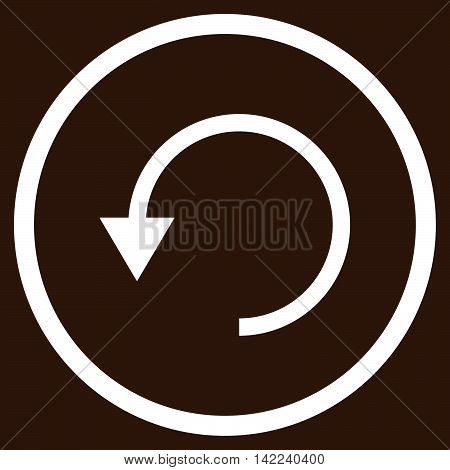 Rotate Ccw vector icon. Style is flat rounded iconic symbol, rotate ccw icon is drawn with white color on a brown background.