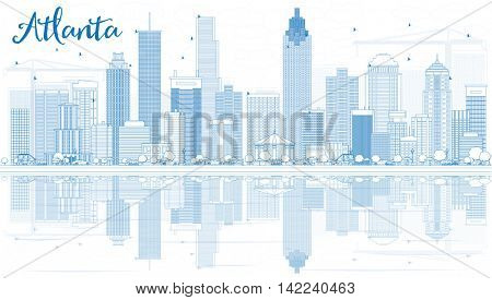 Outline Atlanta Skyline with Blue Buildings and Reflections. Vector Illustration. Business Travel and Tourism Concept with Modern Buildings. Image for Presentation Banner Placard and Web Site.