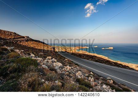 Mountain road at eastern coast of Crete island, Greece
