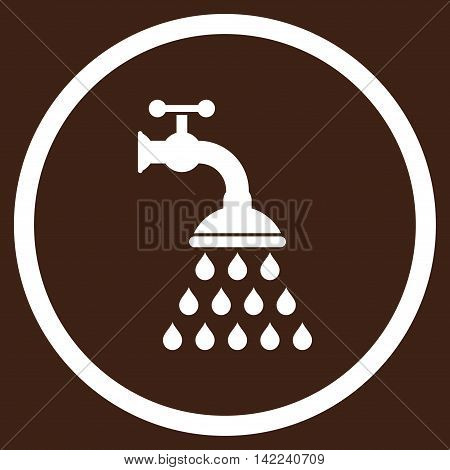 Shower Tap vector icon. Style is flat rounded iconic symbol, shower tap icon is drawn with white color on a brown background.