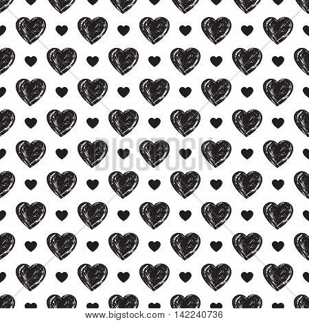 Monochrome hearts seamless pattern. Marriage design. Love concept. Neutral backdrop to print on paper. Vector illustration.