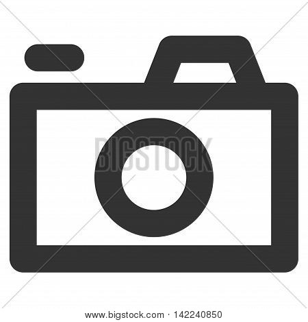 Camera vector icon. Style is contour flat icon symbol, gray color, white background.