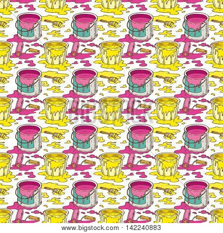 Seamless Vector Pattern with a Paintbrushes Roller Brushes and Paint Cans of Yellow and Pink Paint on a White Background