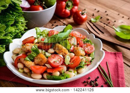 White Bean Salad With Fried Fish, Red Pepper, Green Onion And Chive