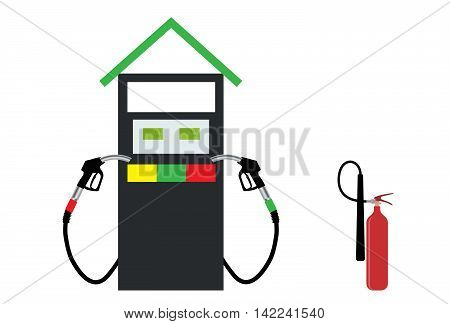 Filling Gun on Refueling the Car and fire extinguisher. Vector Illustration. EPS10