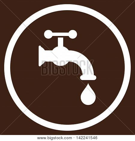 Water Tap vector icon. Style is flat rounded iconic symbol, water tap icon is drawn with white color on a brown background.