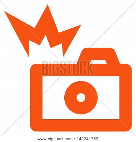Camera Flash vector icon. Style is linear flat icon symbol, orange color, white background.