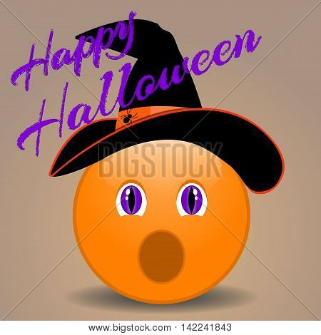 Halloween funny smiley face in a hat. Vector illustration