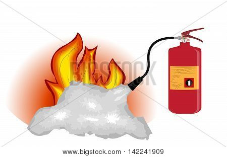 Fire Extinguisher which extinguishes fire Isolated on White Background. Vector Illustration. EPS10