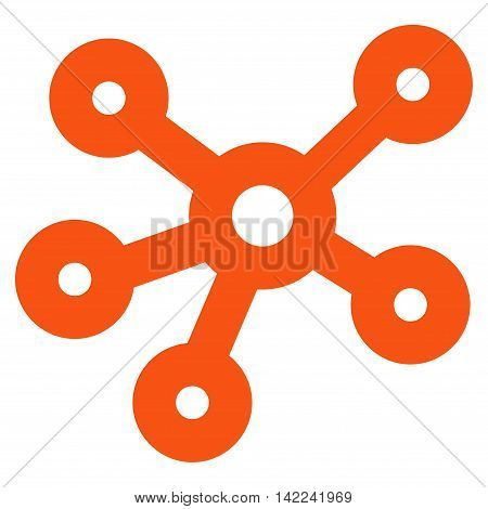 Hub Links vector icon. Style is outline flat icon symbol, orange color, white background.