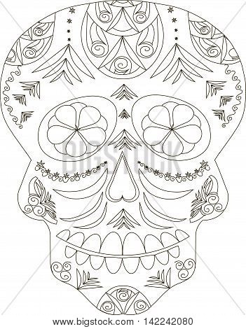 Zentangle stylized black and white sugar skull, hand drawn, vector illustration