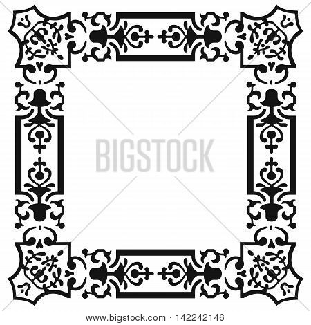 Square ornament, lace ornament, ethnic ornament, fabric ornament, napkin ornament, national ornament, culture ornament. Vector