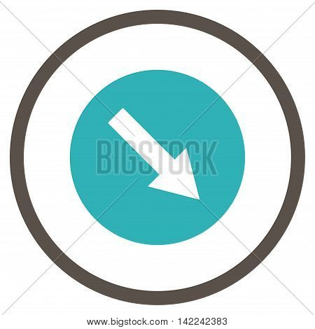 Down-Right Rounded Arrow vector icon. Style is bicolor flat rounded iconic symbol, down-right rounded arrow icon is drawn with grey and cyan colors on a white background.