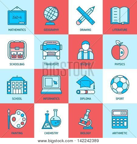 Education linear icons with school subjects building bus pupil on blue red white backgrounds isolated vector illustration