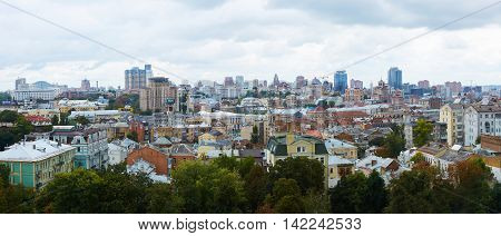 Kyiv, Ukraine - September 7, 2013: Architecture of Kiev city center with blue sky
