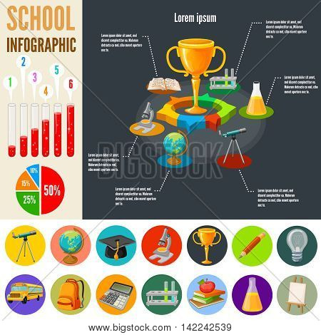 School infographics template with acquisition of knowledge design on black background education icons diagrams statistics vector illustration