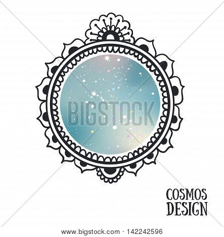 Ornamental Boho Style Frame with space inside. Vector illustration.