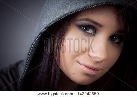 Hip hop rap girl portait for your design