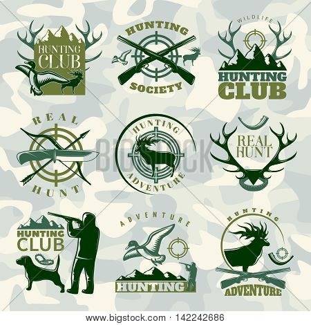 Hunting emblem set in color with hunting club hunting society and real hunt descriptions vector illustration