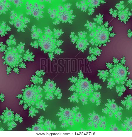 Glowing neon green and purple little flower on dark background