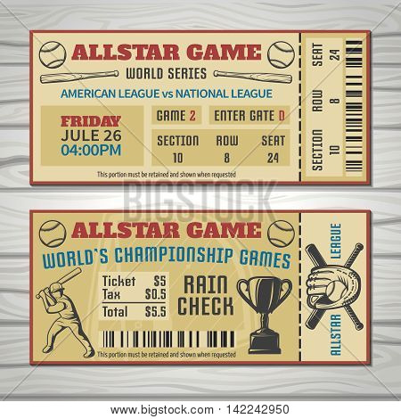 Baseball competitions tickets with player sports outfit and trophy barcode on grey wooden background isolated vector illustration
