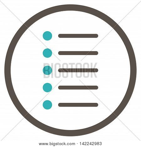 Items vector icon. Style is bicolor flat rounded iconic symbol, items icon is drawn with grey and cyan colors on a white background.