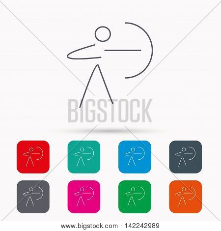 Archery sport icon. Archer with longbow sign. Aiming or targeting symbol. Linear icons in squares on white background. Flat web symbols. Vector