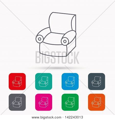Armchair icon. Comfortable furniture sign. Linear icons in squares on white background. Flat web symbols. Vector