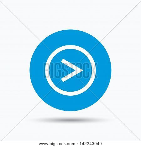 Arrow icon. Next navigation symbol. Blue circle button with flat web icon. Vector