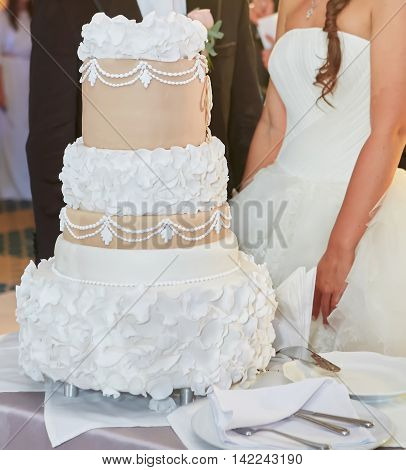 Beautiful Cake for Wedding Ceremony in Wedding party room.
