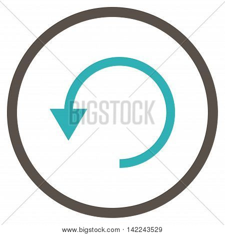 Rotate Ccw vector icon. Style is bicolor flat rounded iconic symbol, rotate ccw icon is drawn with grey and cyan colors on a white background.