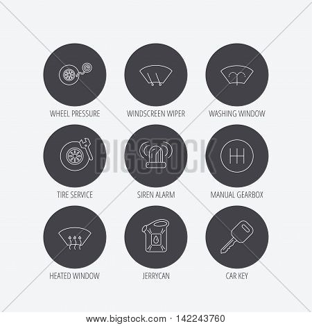 Manual gearbox, tire service and car key icons. Siren alarm, jerrycan and wheel pressure linear signs. Window washing, wiper and heated icons. Linear icons in circle buttons. Flat web symbols. Vector