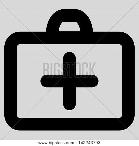 First Aid glyph icon. Style is contour flat icon symbol, black color, light gray background.