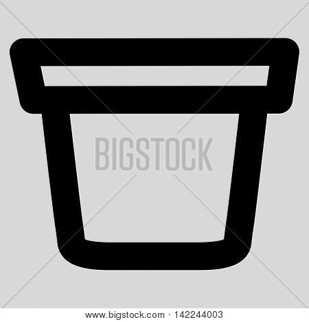 Pail glyph icon. Style is outline flat icon symbol, black color, light gray background.