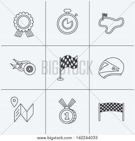 Race flag and speed icons. Winner medal, motorcycle helmet and timer linear signs. Map navigation flat line icons. Linear icons on white background. Vector