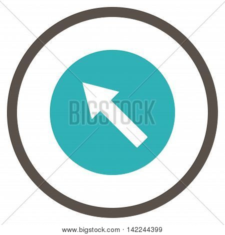 Up-Left Rounded Arrow vector icon. Style is bicolor flat rounded iconic symbol, up-left rounded arrow icon is drawn with grey and cyan colors on a white background.
