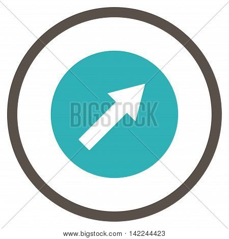Up-Right Rounded Arrow vector icon. Style is bicolor flat rounded iconic symbol, up-right rounded arrow icon is drawn with grey and cyan colors on a white background.