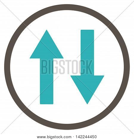 Vertical Flip Arrows vector icon. Style is bicolor flat rounded iconic symbol, vertical flip arrows icon is drawn with grey and cyan colors on a white background.