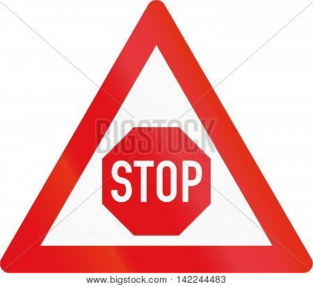 Road Sign Used In The African Country Of Botswana - Stop Sign Ahead