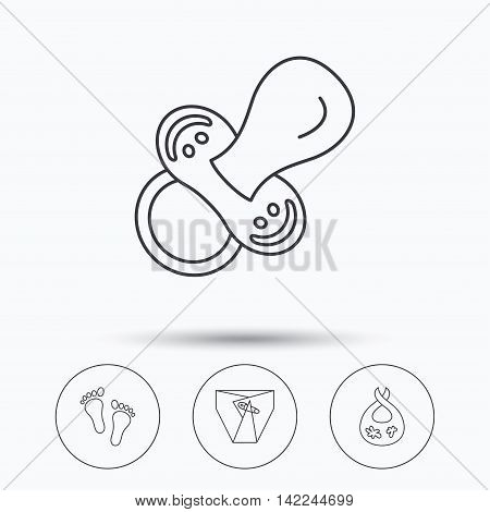 Pacifier, footprint and child diapers icons. Dirty bib linear sign. Linear icons in circle buttons. Flat web symbols. Vector