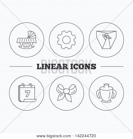 Baby mug, diapers and cradle bed icons. Bow linear sign. Flat cogwheel and calendar symbols. Linear icons in circle buttons. Vector