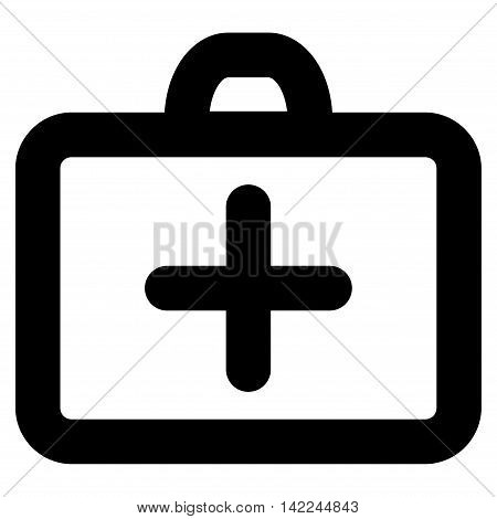 First Aid vector icon. Style is stroke flat icon symbol, black color, white background.