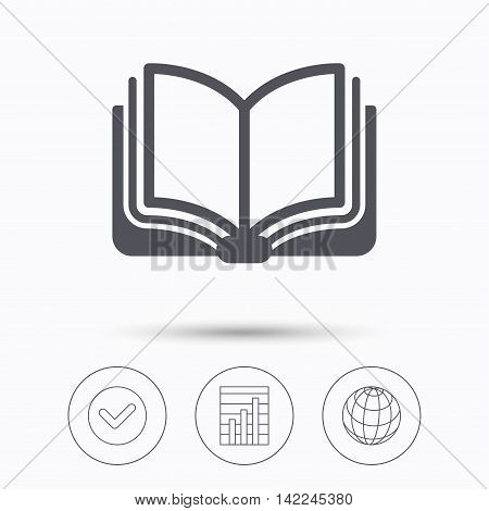 Book icon. Study literature sign. Education textbook symbol. Check tick, graph chart and internet globe. Linear icons on white background. Vector