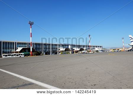 IRAKLION GREEES - MAY 20: The building of N. Kazantzakis Iraklion Airport on May 20 2014 in Iraklion Greece. Up to 16 mln tourists is expected to visit Greece in year 2014.