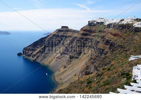 The view on Fira town Santorini island Greece