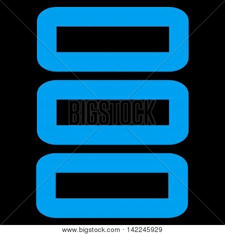 Database vector icon. Style is contour flat icon symbol, blue color, black background.