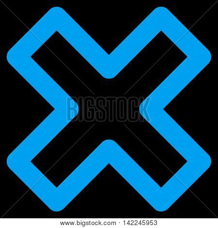 Delete X-Cross vector icon. Style is contour flat icon symbol, blue color, black background.
