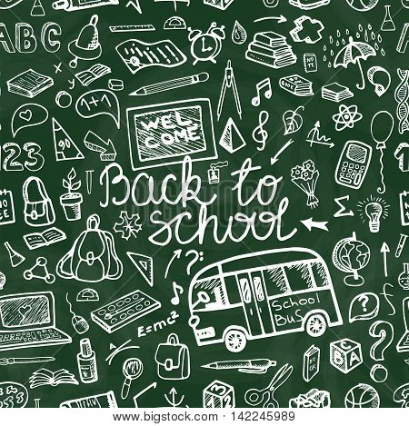 Back to School Supplies  Seamless pattern.Doodles Sketchy Notebook  with Lettering and Hand Drawing icons.Vector Illustration chalk Design Elements on green  chalkboard Background.Teachers day